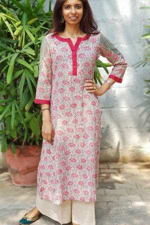 Red grey printed cotton kurta