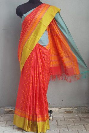 Reddish pink with ganga jamuna border kanchi cotton saree 1