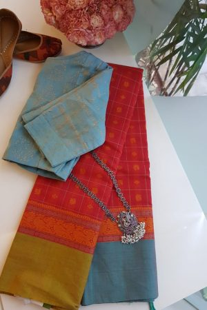 Reddish pink with ganga jamuna border kanchi cotton saree