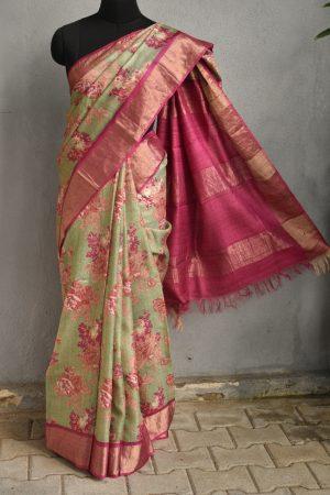 Russian green with pink floral prints zari border tussar sari 1