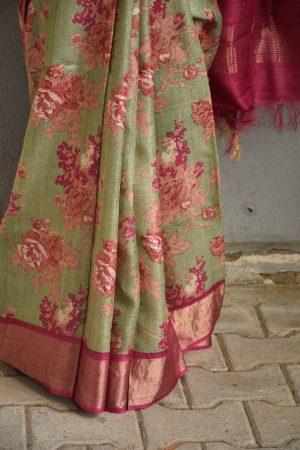 Russian green with pink floral prints zari border tussar sari 2