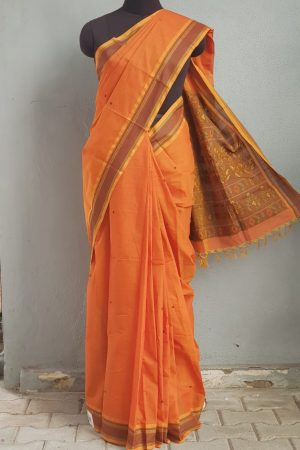 Rust kanchi cotton saree with buttis 1