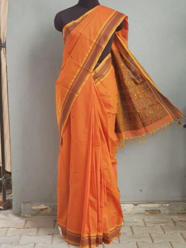 Rust kanchi cotton saree with buttis 1