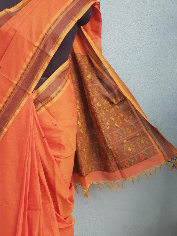 Rust kanchi cotton saree with buttis 2