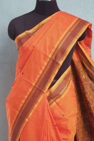 Rust kanchi cotton saree with buttis3