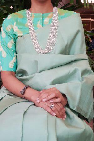 Sea green silk brocade blouse 2