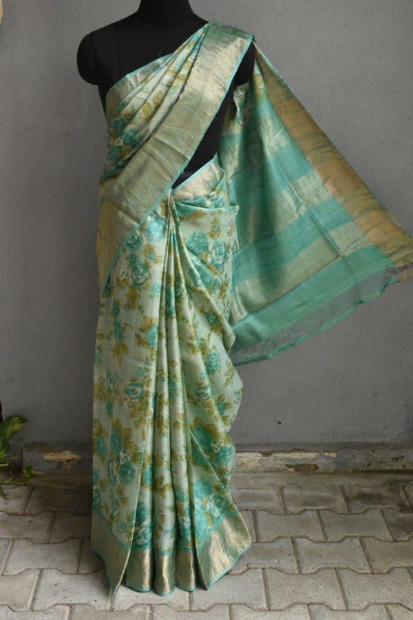 Teal green with floral prints zari border tussar saree 1