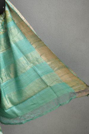 Teal green with floral prints zari border tussar saree 2