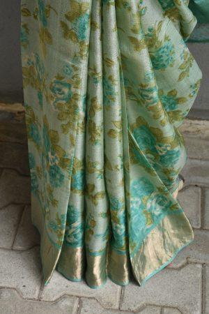 Teal green with floral prints zari border tussar saree 3
