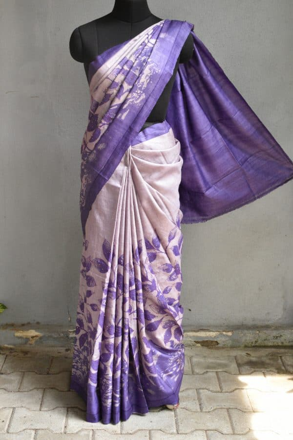 Violet and light mauve block printed and kantha work tussar saree