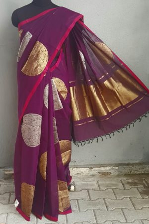 Violet kanchi cotton saree with gold and silver zari 1
