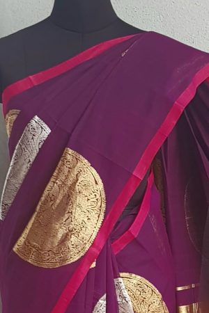 Violet kanchi cotton saree with gold and silver zari 2