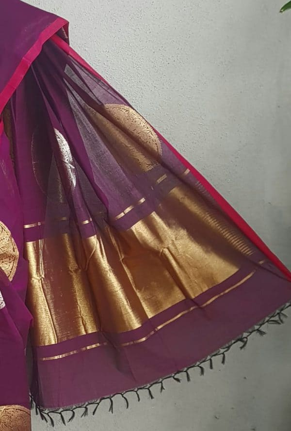 Violet kanchi cotton saree with gold and silver zari 3
