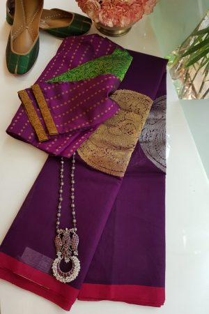 Violet kanchi cotton saree with gold and silver zari