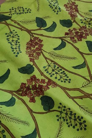bright green kanchi silk kalamkari fabric