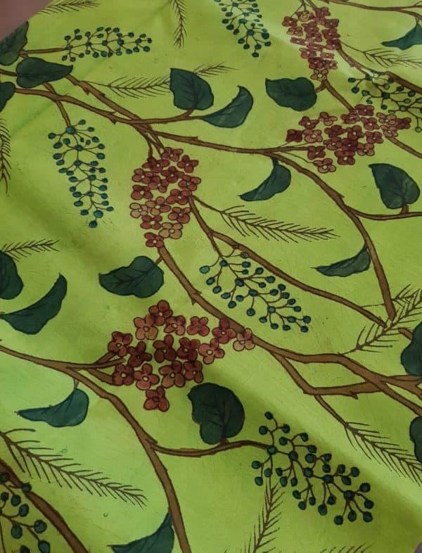 bright green kanchi silk kalamkari fabric