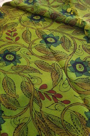 green kanchi silk kalamkari fabric