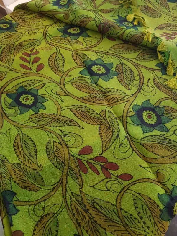 green kanchi silk kalamkari fabric