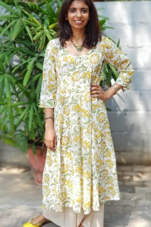 lemon green yellow printed cotton kurta