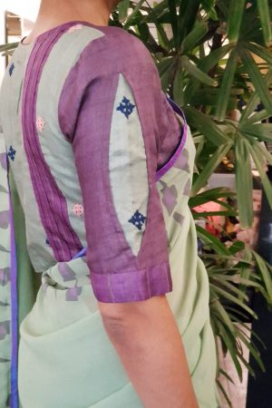 mauve tussar kutch work blouse sleeve