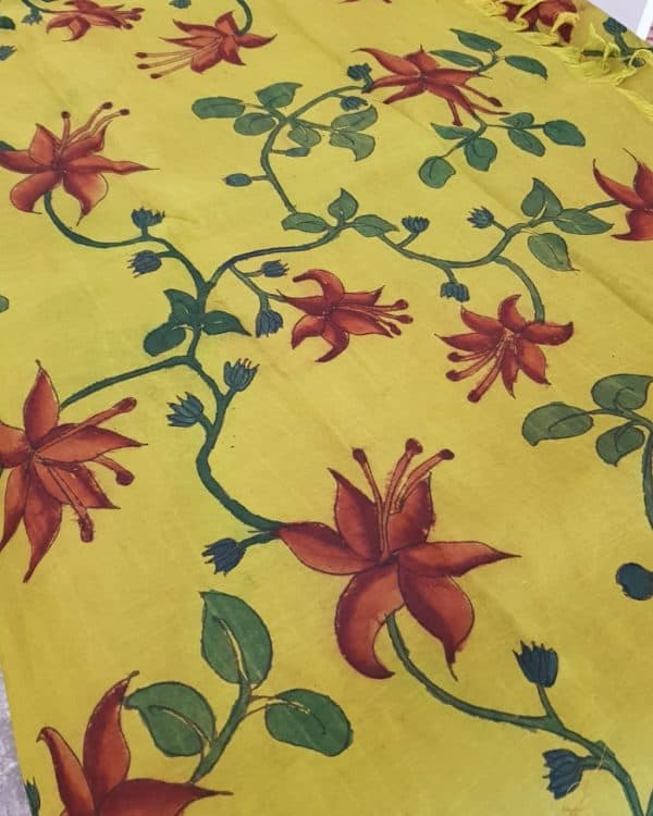mustard green kanchi silk kalamkari fabric