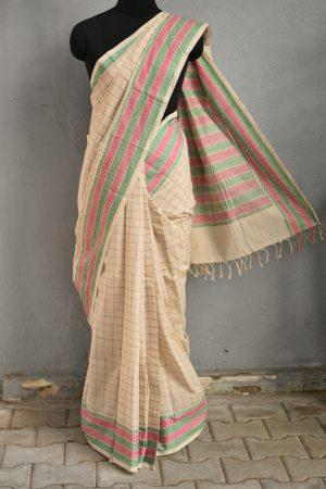 off white kanchi cotton saree 1