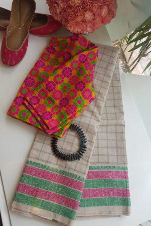 off white kanchi cotton saree