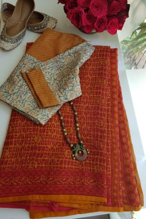 orange abstract print kota doriya saree