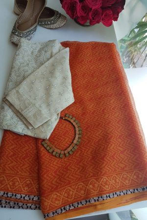 orange chevron print kota doriya saree