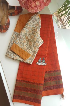 orange kanchi cotton saree with checks