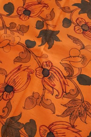 orange kanchi silk kalamkari fabric