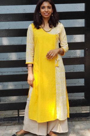 yellow beige cotton kurta