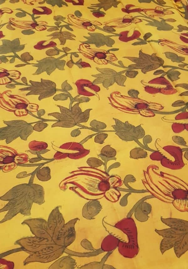 yellow kanchi silk kalamkari fabric