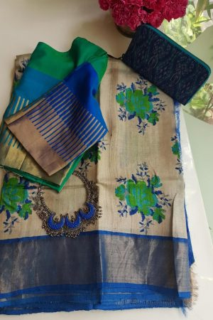 Beige blue floral print zari border tussar sareeQ