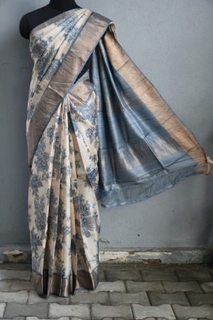 Beige grey floral rose print zari border tussar saree