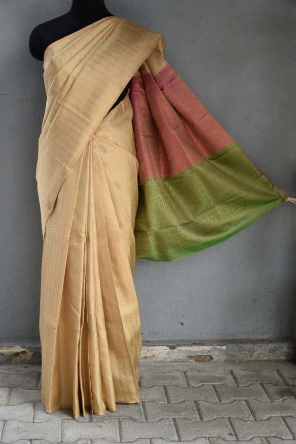 Beige kancheepuram silk saree 2colour pallu 1