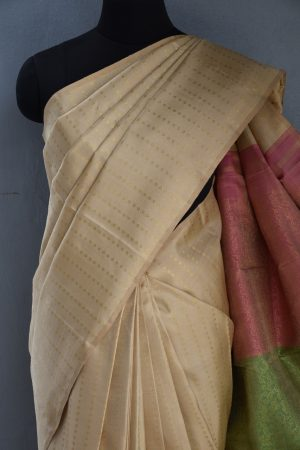 Beige kancheepuram silk saree 2colour pallu 2