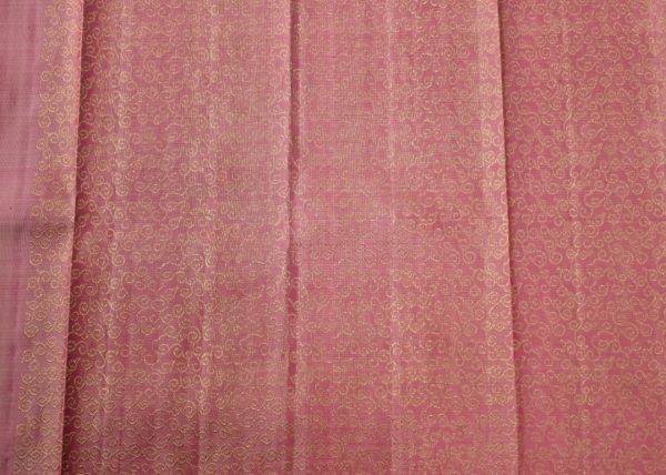 Beige kancheepuram silk saree 2colour pallu