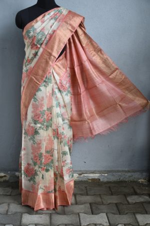 Beige peach rose print zari border tussar saree 1