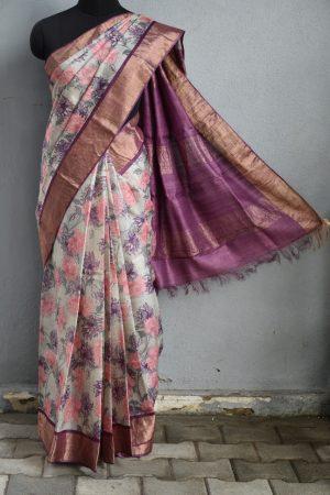 Beige purple carnation print zari border tussar saree 1