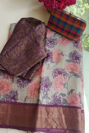 Beige purple carnation print zari border tussar saree
