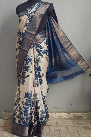 Beige tussar saree with blue maple leaf print and zari border 1