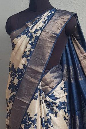 Beige tussar saree with blue maple leaf print and zari border 2