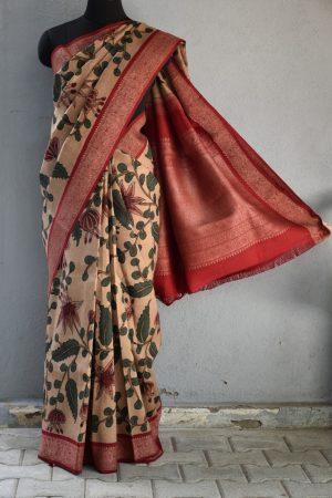 Beige with red thread woven korvai kanchi silk saree with kalamkari 1