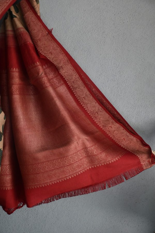 Beige with red thread woven korvai kanchi silk saree with kalamkari 3