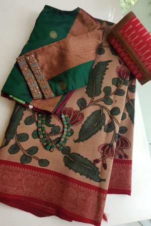 Beige with red thread woven korvai kanchi silk saree with kalamkari