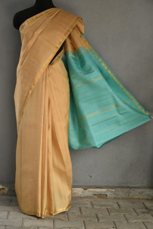 Beige with teal pallu silk saree 1