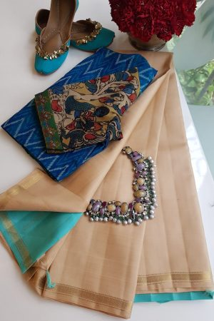 Beige with teal pallu silk saree