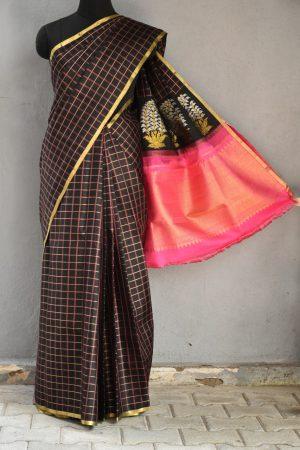 Black pink kanchi silk kattam saree 1