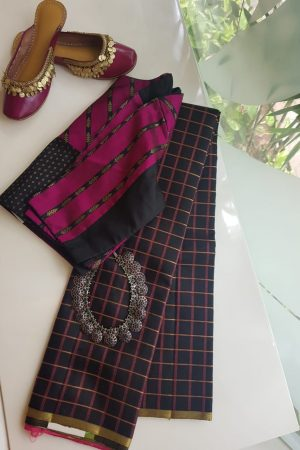 Black pink kanchi silk kattam saree